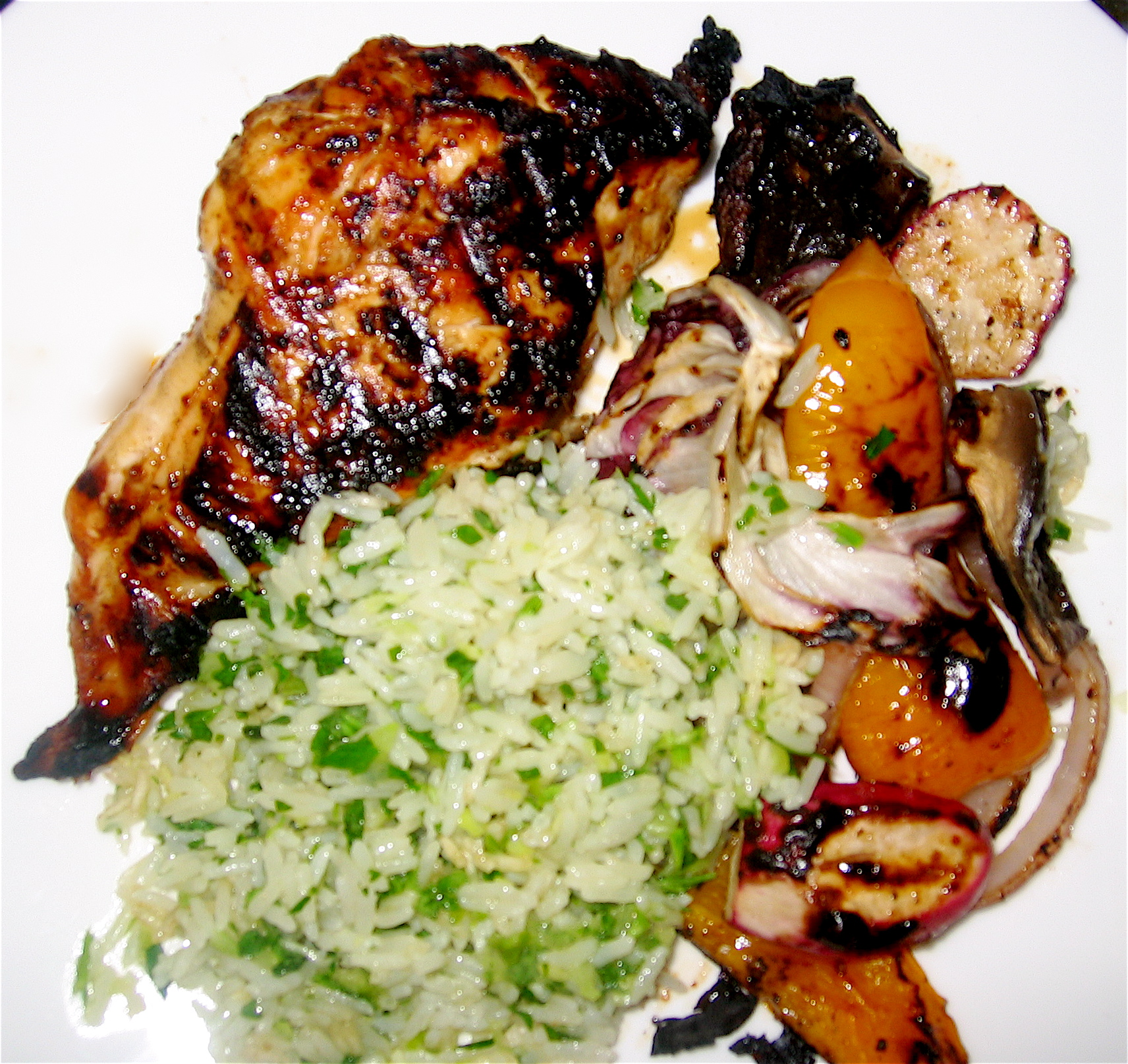 Grilled Asian Chicken & Vegetables with Ginger-Cilantro Rice « Eye ...