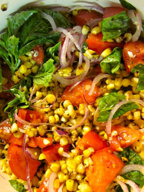 Charred Corn Salad With Basil And Tomatoes Recipes — Dishmaps