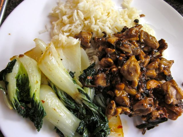 Gong Bao chicken with steamed rice and baby bok choy